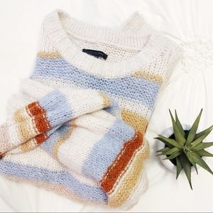 AMERICAN EAGLE Striped Sweater Cream Rust Blue XL